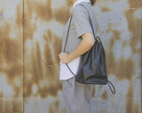 Drawstring Soft Leather Backpack