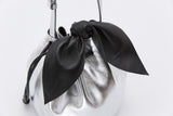 Promotion Drawstring Leather Bow Bucket Bag | Silver