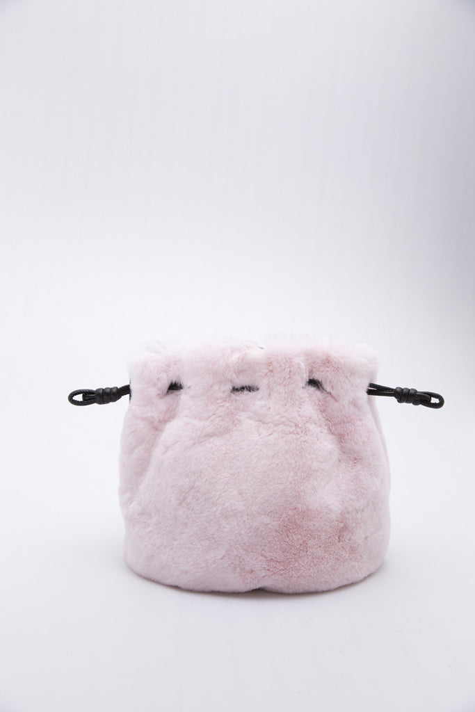 Drawstring Sheepskin Bow Bucket Bag | Rabbit Pink
