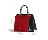 Color Block Leather Box Bag