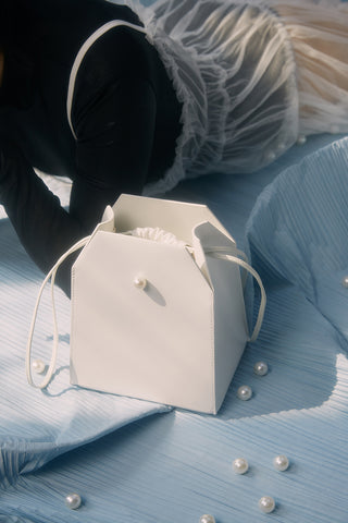 Box Bag with Chain | White