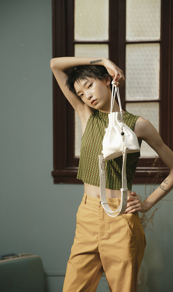 Bucket bag Handmade Leather | White