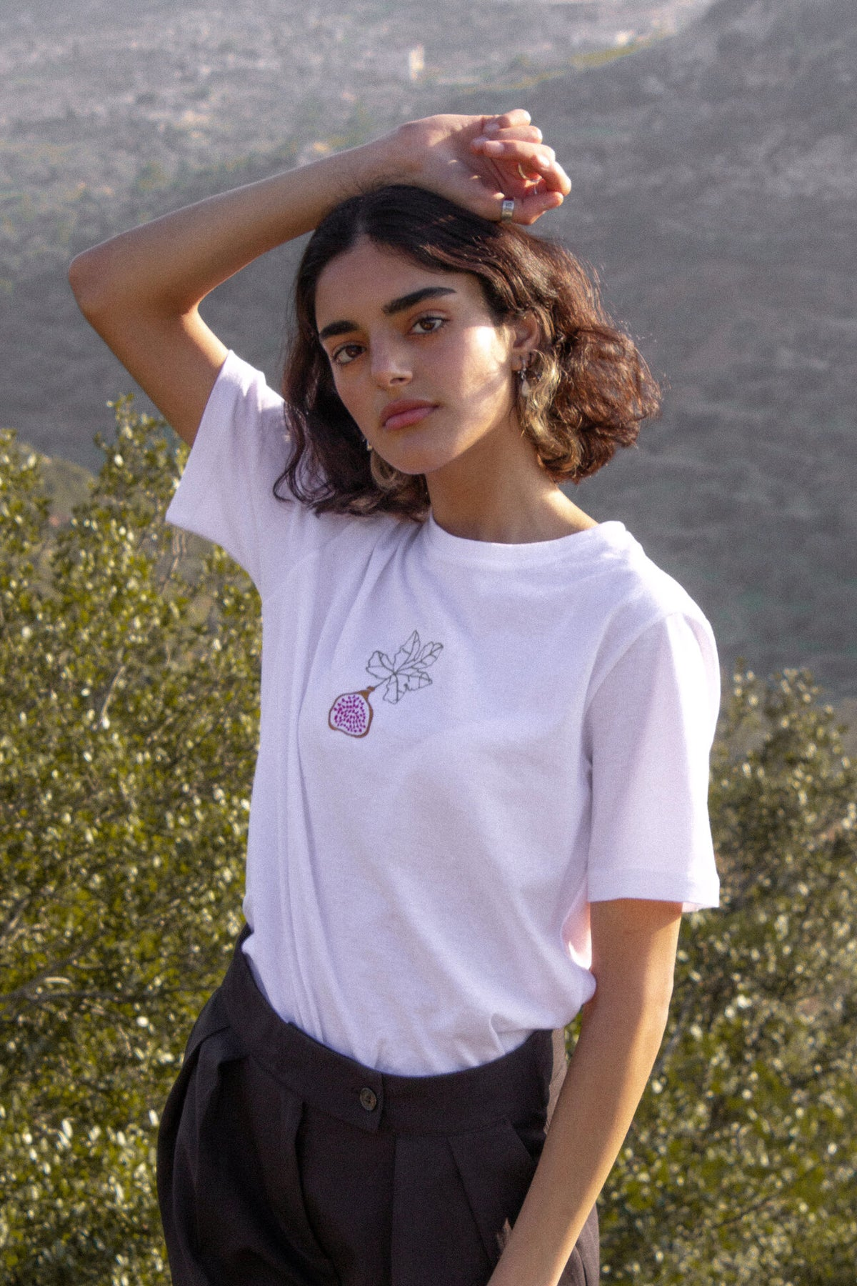 Embroidered Fig Tee