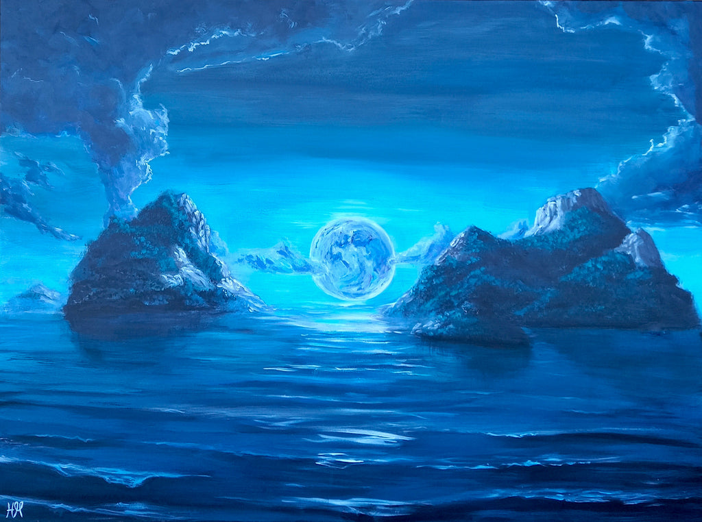 Islands in the Moonlight - acrylic landscape painting by Heidi Monsant