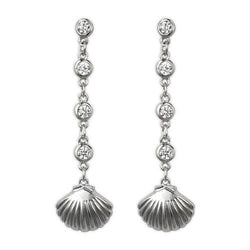 Jody Coyoty Summer Love Scallop Shell Charm Drop Bezel Set Studs Earring