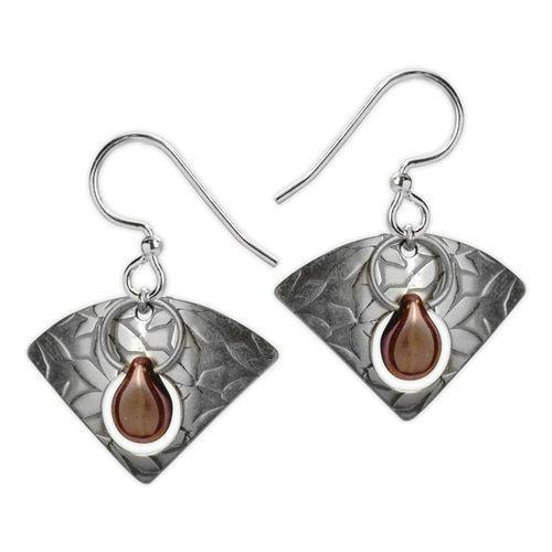 Jody Coyote Etched in Time Small Triangle with Copper Colored Bead Earring