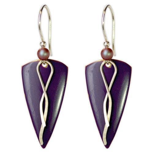 Jody Coyote Arbor GatesPurple Triangle with Silver and Squiggle and Bead Earring