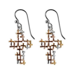 Jody Coyote Joyful Tri-Tone Open Design Cross Earring Earring