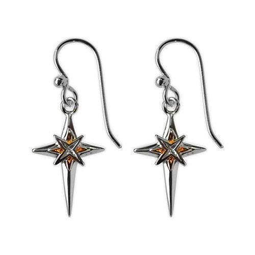 Jody Coyote Joyful Silver/Gold Cross with Starburst In Center Earring Earring