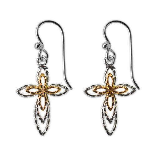 Jody Coyote Joyful Silver/Gold Raised Open Design Cross Earring Earring