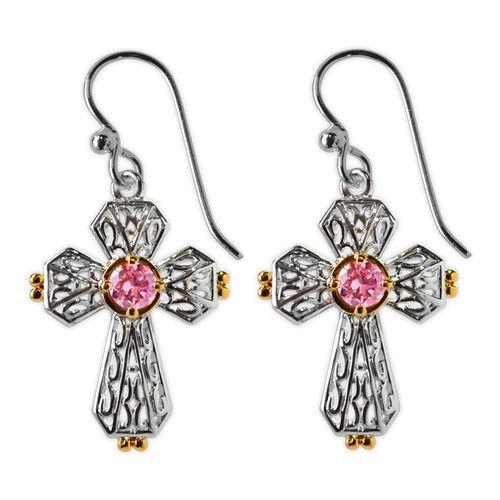 Jody Coyote Splendor Silver Open Heart with Gold and Pink Cubic Zirconia Earring