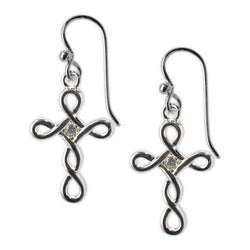 Jody Coyote Tiny Blessings Open Design Cross and Clear Cubic Zirconia Earring