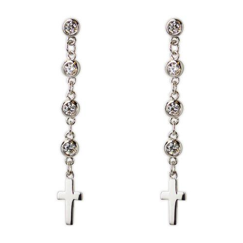 Jody Coyote Tiny Blessings Small Cross On Cubic Zirconia Chain Drop Earring