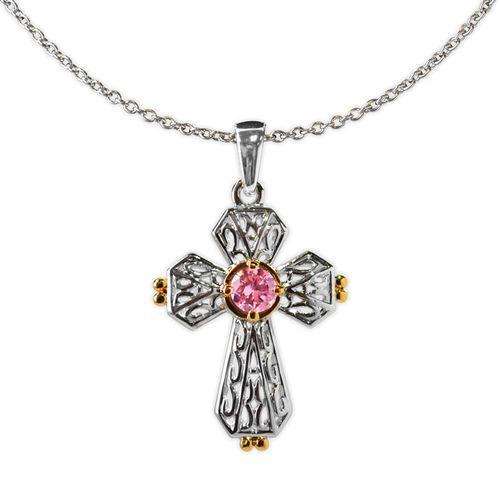 Jody Coyote Splendor Silver Open Heart with Gold and Pink Cubic Zirconia Necklace