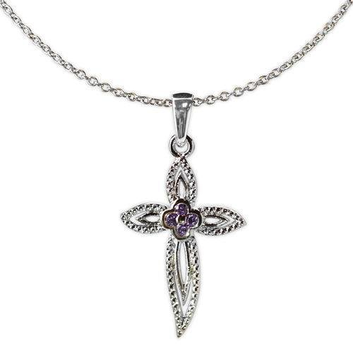 Jody Coyote Splendor Fancy Open Design Cross with Amethyst Cubic Zirconia Necklace