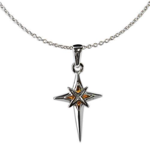 Jody Coyote Distinction Silver/Gold Cross with Starburst In Center Necklace