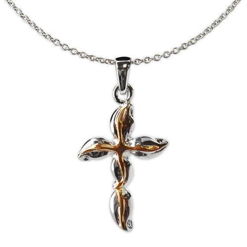 Jody Coyote Distinction Silver/Gold Swirl Cross Necklace