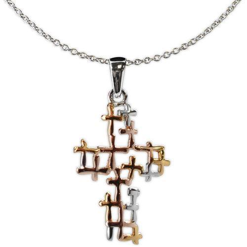 Jody Coyote Distinction Tri Tone Open Design Cross Necklace