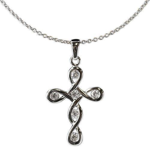 Jody Coyote Tiny Blessings Open Swirl Design Cross Necklace