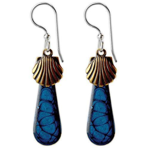 Jody Coyote Beachcomber Scallops with Blue Drops Earring
