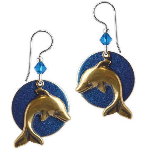 Jody Coyote Beachcomber Blue Disk with Dolphins Earring