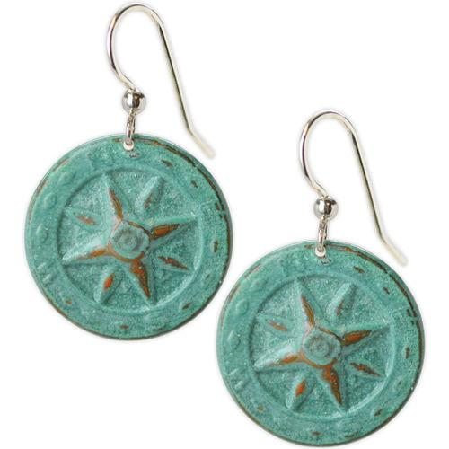 Jody Coyote Searfarer Verdigris Compasses Earring