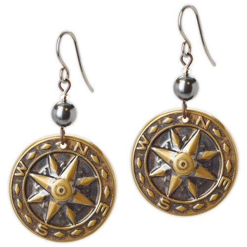 Jody Coyote Searfarer Gold Compasses Earring