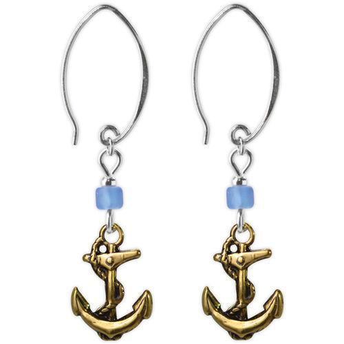 Jody Coyote Resort Gold Anchors, Blue Bead Earring