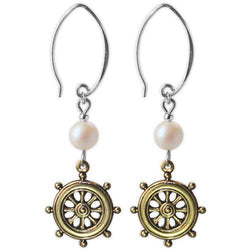 Jody Coyote Resort Gold Ships Wheels, with Pearl Earring