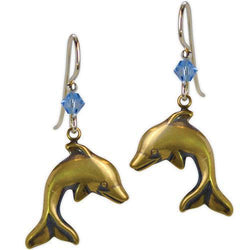 Jody Coyote Resort Gold Dolphins Blue Crystal Bead Earring
