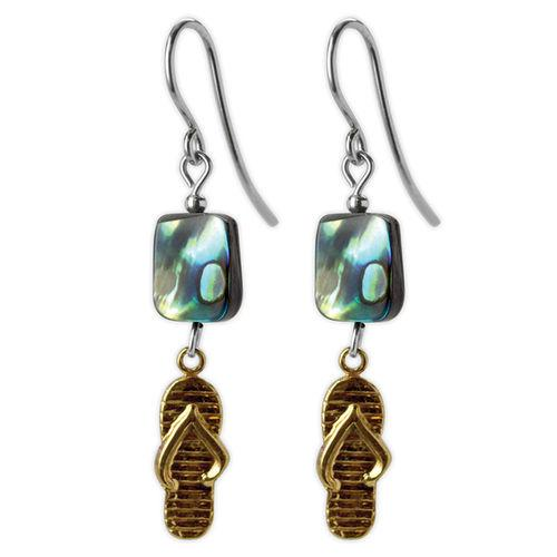 Jody Coyote Riviera Gold Flipflops with Abalone Bead Earring