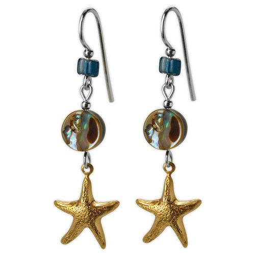 Jody Coyote Riviera Gold Starfish with Abalone Bead Earring