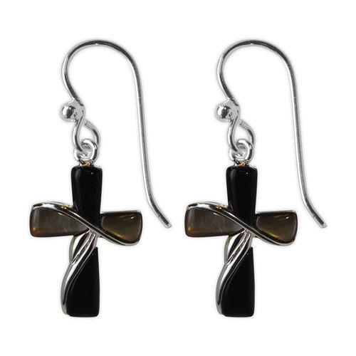 Jody Coyote Sanctuary Painted Black and Dark Shell Cross Earring