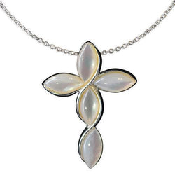 Jody Coyote Serenity White Mother Of Pearl Cross Necklace