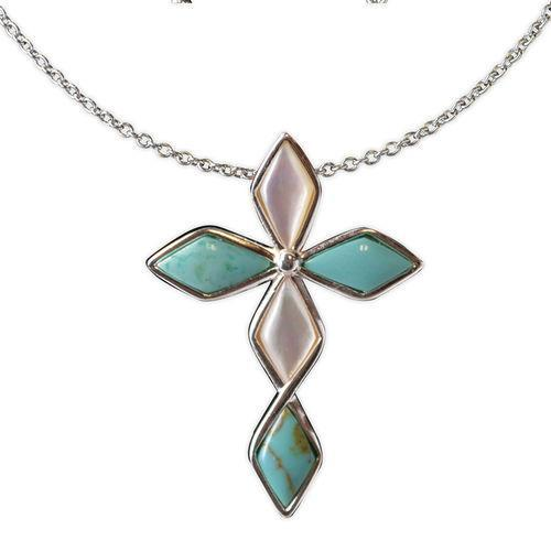 Jody Coyote Serenity White Mother Of Pearl and Turquoise Diamond Cross Necklace