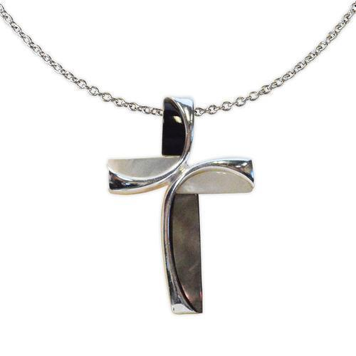 Jody Coyote Serenity White Mother Of Pearl and Dark Shell Cross Necklace