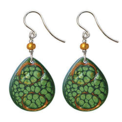 Jody Coyote Studio Green Abalone and Gold Large Teardrop Earring