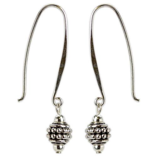 Jody Coyote Harmony Ball Silver Small Round Bead On Elongated Hoop Wire Earring
