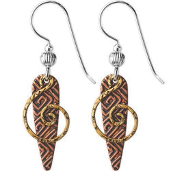 Jody Coyote Esemble Brown Etched Narrow Shield with Gold Spiral Earring