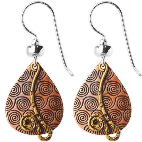 Jody Coyote Esemble Brown Etched Wide Teardrop Shield with Gold and Squiggle Earring