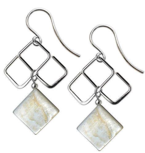 Jody Coyote Neo Geo 3 Squares with Mother of Pearl Square Dangle Earring