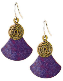 Jody Coyote Sapphire Flame Purple Metal Flare Shield, Bronze Spiral Earring