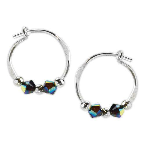Jody Coyote Orbit Blue Crystal and Silver Bead Slides Earring