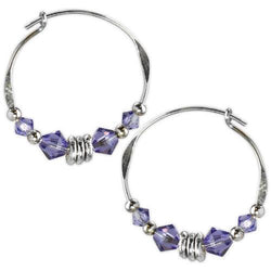 Jody Coyote Esteemed Medium Hoop, Lilac and Silver Bead Slides Earring