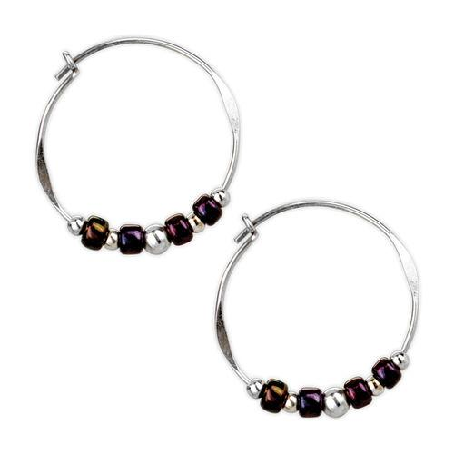 Jody Coyote Esteemed Medium Hoop, Purple and Silver Bead Slides Earring