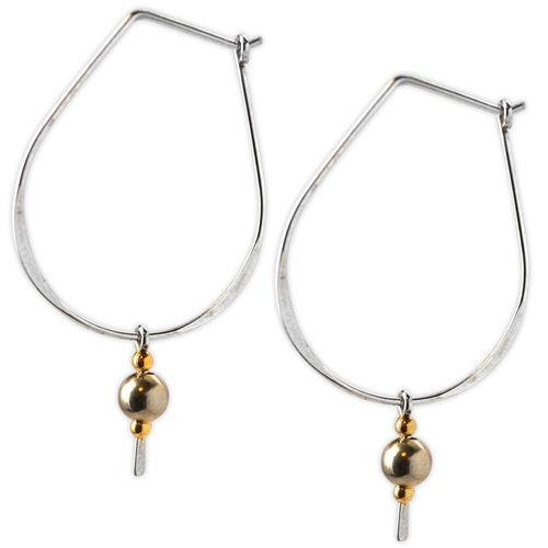 Jody Coyote Contour Large Hoop, Gold Bead Drop Earring