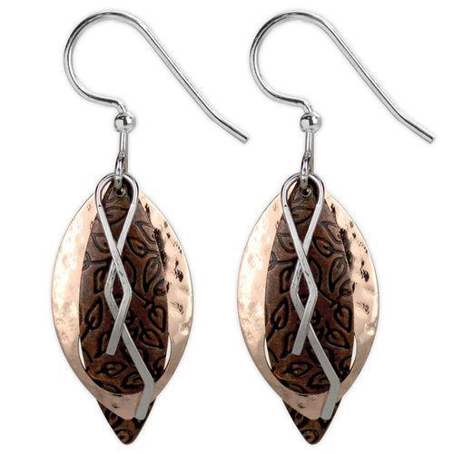 Jody Coyote Mod Grooves Rose Gold/Copper Teardrop with Leaf and Squiggle Earring