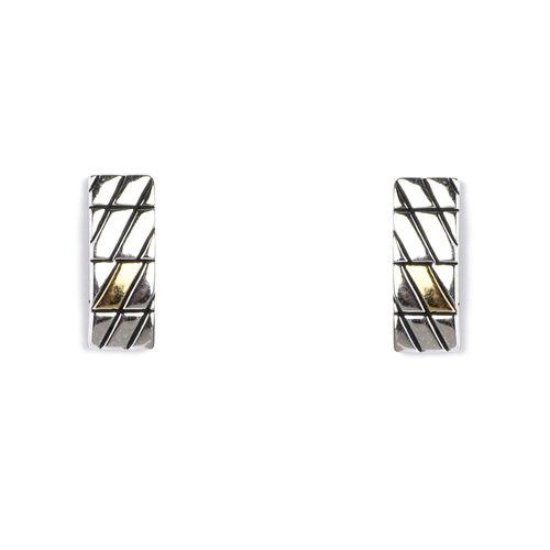 Jody Coyote GEO Rectangle Rhodium/Gold Plated Earring