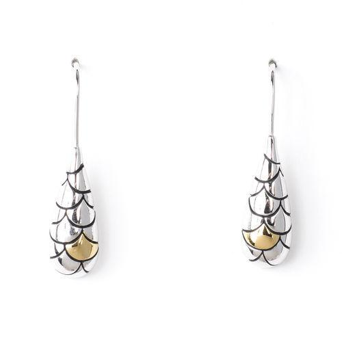 Jody Coyote GEO Drop Rhodium/Gold Plated Earring