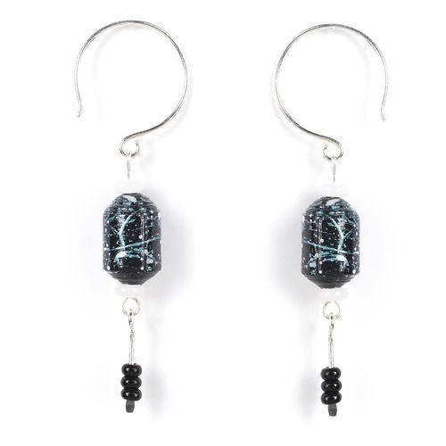 Jody Coyote Spun Paper Barrel - Multi-Black Earring